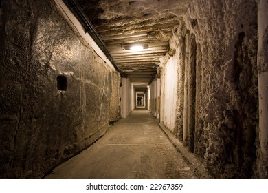 Corridor in salt mine in Wieliczka. Poland