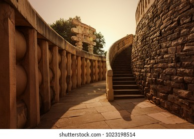 The corridor of Sanchi Stupa located at Sanchi Town, Madhya Pradesh, India