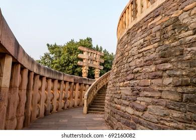 The corridor of Sanchi Stupa located at Sanchi Town, Madhya Pradesh, India