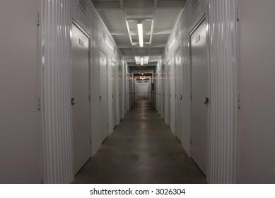 Corridor in a storage facility