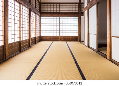 corridor of tatami mats and paper sliding doors called Shoji in Japanese