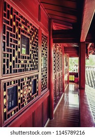 The Corridor / Verandah of Chinese Wooden Ancient Building Built in Qing Dynasty with Beautiful Windows and Doors for Archtect or Interior Works.
