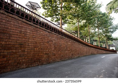 Corridor walls, Industrial background, empty grunge urban street with warehouse brick wall