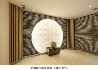 The corridor(hall, passage) and marble bottom, wall and korean(chinese) traditional style decoration wall, window at the hotel in south korea.