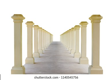 Corridors and pillars,isolated on white background with clipping path.