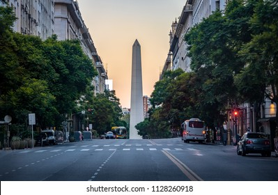 Corrientes Avenue with Obelisk on background - Buenos Aires, Argentina