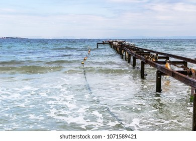 Corroded metal pier