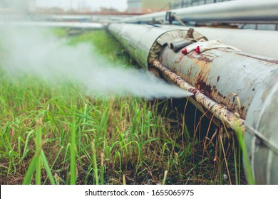 Corrosion rusty through socket tube steam gas leak pipeline at insulation