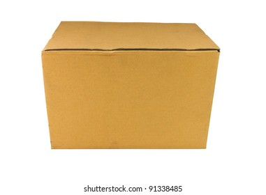 Corrugated brown box isolate on white background