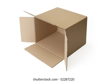 Corrugated cardboard box isolated on white background.