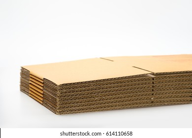 corrugated cardboard box stack isolated white background
