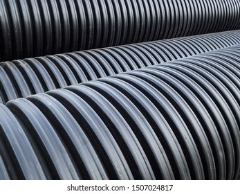 Corrugated double-walled pipes. Pipes for use in outdoor Sewerage systems. Big black pipes