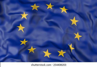 Corrugated European Union flag 3D illustration
