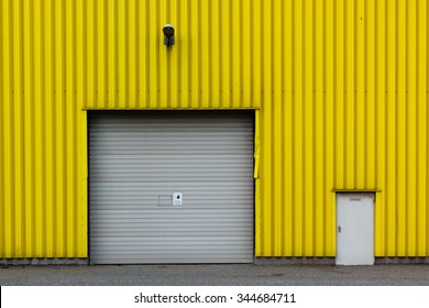 corrugated metal wall with gate