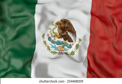 Corrugated Mexico flag 3D illustration