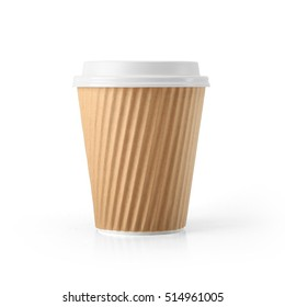 Corrugated Paper Disposable Coffee Cup with Lid isolated on White Background. Front view. Packaging template mockup collection. With clipping Path included.