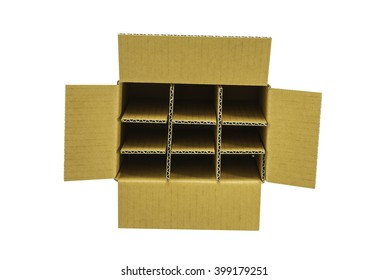 corrugated paper partition in corrugated carton isolated on white background, clipping path