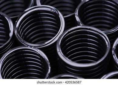 Corrugated pipe for installation of electrical cable, closeup