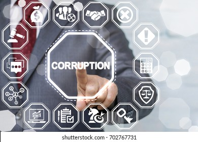Corruption Bribery Venality Stop Business Finance Political concept. Businessman offers anti bribe conceptual technology on a virtual digital screen interface.