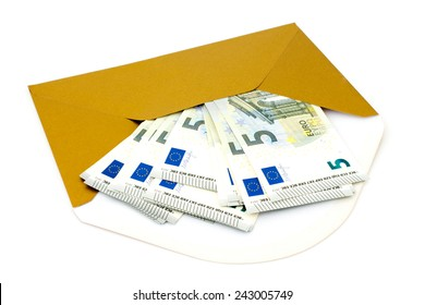 Corruption concept. Envelope with money, isolated on white background.