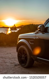 Corse, France - August 2019: Land Rover Discovery 4 on the road. Discovery 4 into the wild off-road 4x4.