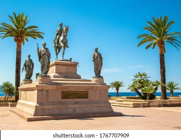 Corsica, 01/09/2017: details of Napoleon and his four brothers, the monument inaugurated in 1865 in Place de Gaulle (Charles de Gaulle Square) in the famous city of Ajaccio, France