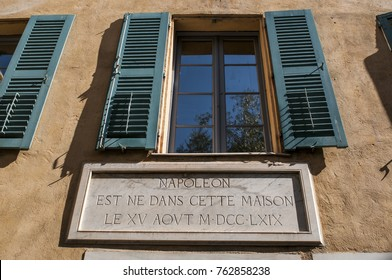 Corsica, 01/09/2017: the exterior of the Maison Bonaparte in Ajaccio, historical monument since 1967, now a house-museum, is the ancestral home of the Bonaparte family and the birthplace of Napoleon