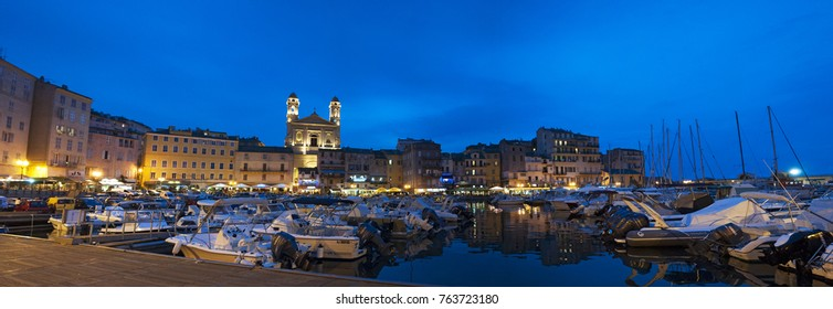 Corsica, 03/09/2017: the night skyline of Bastia, the city in the northeast, at the base of the Cap Corse, seen from the dock of the little port of the old town