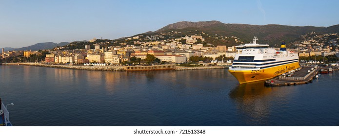 Corsica, 03/09/2017: the skyline of Bastia, the city in the northeast, at the base of the Cap Corse, seen from the dock of the main port of the island from which ferries and cruises depart and arrive