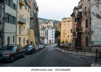 Corsica, 03/09/2017: the skyline and view of the alleys in the perched Citadel of Bastia, the famous city in the northeast of the island at the base of the Cap Corse