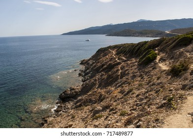 Corsica, 28/08/2017: Mediterranean Sea and Mediterranean maquis along the Sentier des Douaniers (Custom Officers Route), a 19 km long coastal path on the Cap Corse used by customs officers in the past