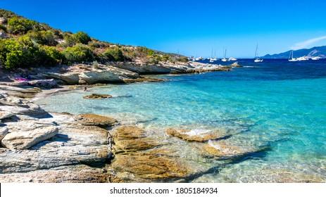 Corsica beach with turquoise sea and paradise beach. Saint Florent Corsica France