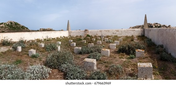 Corsica, France - september 16, 2015: Cemetery of Lavezzi on the isle