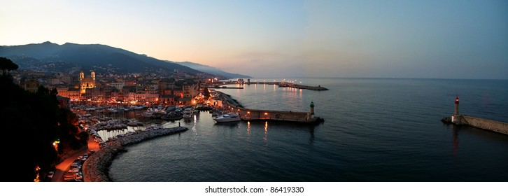 Corsican port Bastia in the evening light - panoramic view