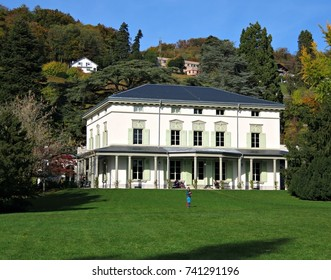 CORSIER-SUR-VEVEY, SWITZERLAND - OCTOBER 24, 2017: View of the Manoir de Ban, the property where Charlie Chaplin lived with his family for his last 25 years.