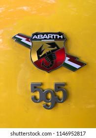 CORTE, CORSICA - JULY, 2018: New Fiat 500 Abarth.