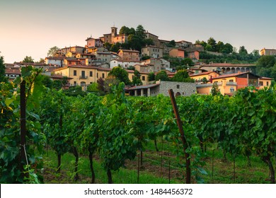 Corte Lantieri in Franciacorta at sunset, Brescia province, Lombardy district, Italy