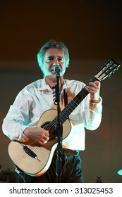 """CORTEFRANCA,ITALY - AUGUST 27:  exhibition live of the  italian songwriter Max Manfredi at the event """"Acoustic Franciacorta 2015"""",27 August ,2015 in Cortefranca,Italy"""