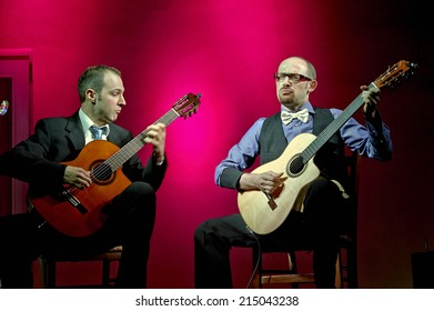 """CORTEFRANCA,ITALY - AUGUST 28:  exhibition live of the  italian guitar duo  """" Bruskers """" at the event """"Acoustic Franciacorta 2014"""",28 August ,2014 in Cortefranca,Italy"""