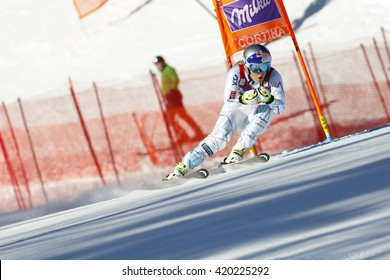 Cortina d  Ampezzo, Italy 23 January 2016. VONN Lindsey (Usa) competing in the Audi Fis Alpine Skiing World Cup Women  downhill Race on the Olympia Course in the dolomite mountain range.