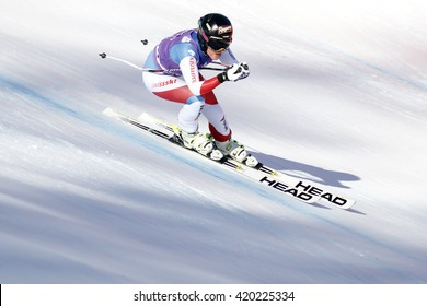 Cortina d  Ampezzo, Italy 23 January 2016. GUT Lara (Sui) competing in the Audi Fis Alpine Skiing World Cup Women downhill Race on the Olympia Course in the dolomite mountain range.