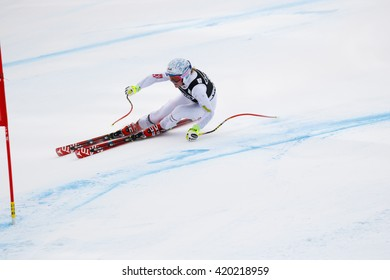 Cortina d Ampezzo, Italy 24 January 2016. MCKENNIS Alice (Usa) competing in the Audi Fis Alpine Skiing World Cup Women Super G on the Olympia Course in the dolomite mountain range.
