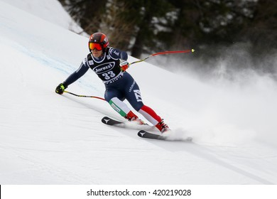 Cortina d  Ampezzo, Italy 24 January 2016. GOGGIA Sofia (Ita) competing in the Audi Fis Alpine Skiing World Cup Women Super G on the Olympia Course in the dolomite mountain range.