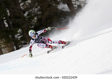 Cortina d Ampezzo, Italy 24 January 2016. PUCHNER Mirjam (Aut) competing in the Audi Fis Alpine Skiing World Cup Women Super G on the Olympia Course in the dolomite mountain range.