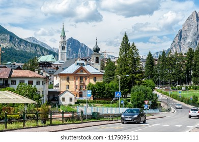 Cortina D' Ampezzo, Italy, July 28, 2018. The Entrance to the City of Cortina D'Ampezzo in the the Italian Dolomites. This city is a popular tourist destination among europeans.