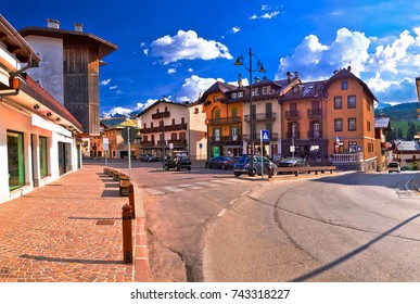 Cortina D' Ampezzo street and Alps peaks panoramic view, Veneto region of Italy