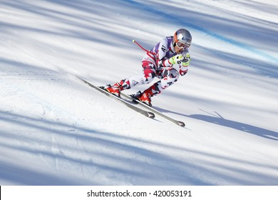 Cortina d ??Ampezzo, Italy 23 January 2016. VENIER Stephanie (Aut) competing in the Audi Fis Alpine Skiing World Cup Women downhill Race on the Olympia Course in the dolomite mountain range.