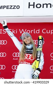 Cortina d ??Ampezzo, Italy 24 January 2016. VONN Lindsey (Usa)  takes 1st place during the Audi Fis Alpine Ski World Cup Women Super G