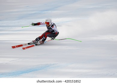 Cortina d ??Ampezzo, Italy 24 January 2016. YURKIW Larisa (Can) competing in the Audi Fis Alpine Skiing World Cup Women Super G on the Olympia Course in the dolomite mountain range.