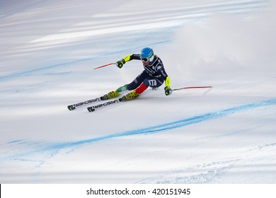 Cortina d ??Ampezzo, Italy 24 January 2016. STUFFER Verena (Ita) competing in the Audi Fis Alpine Skiing World Cup Women Super G on the Olympia Course in the dolomite mountain range.